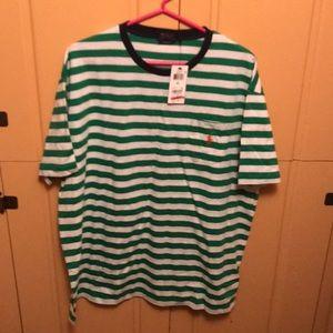 Green white stripe short sleeved polo tee shirt